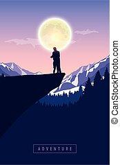 splendere, scogliera, luna, coppia, montagna, nevoso