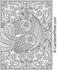 Splendid adult coloring page, elegant peacock is showing off its feather, floral and geometric elements, stress relief coloring page