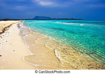 White sandy beach La Cinta near San-Teodoro, Sardinia, Italy
