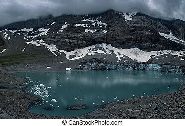 Splendid glaciar lake in Swiss Alps