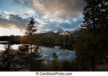 high mountain lake at sunset