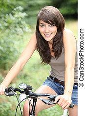 splendid-looking, morena, ligado, dela, bicicleta