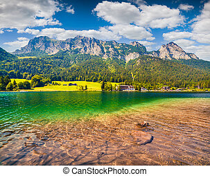 Splendid summer morning on the Hintersee lake