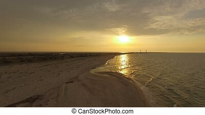 Splendid Sunset at The Black Sea Coast With Incredible Sun Path in Summer