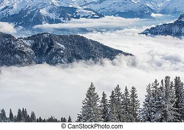 Splendid winter alpine scenery with high mountains