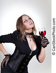 splendido, donna, con, vino rosso
