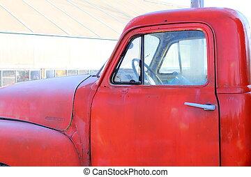 splendido, vecchio, camion rosso