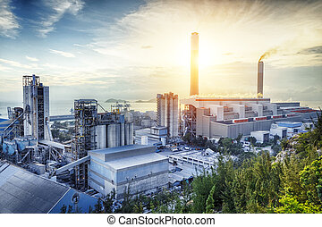 splendore, luce, di, industria petrochimica, su, sunset.