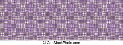 Spliced stripe geometric gingham variegated border background. Seamless pattern check criss cross bleached resist. Trendy broken stripe digital disrupted line ribbon trim. Purple woven dye color