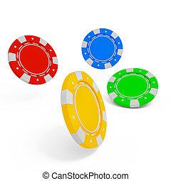 splinter, casino, vrijstaand, achtergrond, witte , stapel