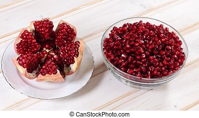 splintered rotating fresh pomegranate