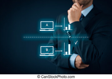 Split AB testing - A/B split testing concept. Marketing or...