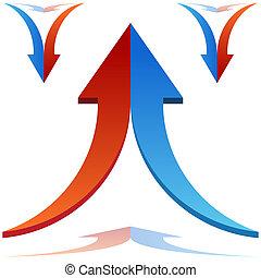 Split Arrows Joining - An image of 3d split arrows merging...