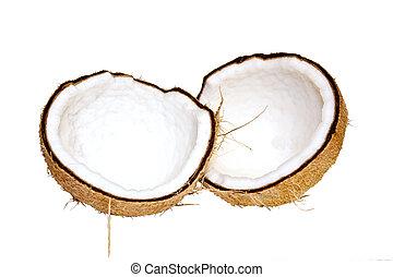 Split Coconut - Split coconut dried fruit isolated on white