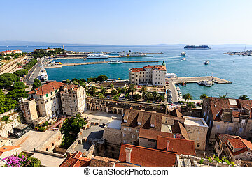 SPLIT, CROATIA - JULY 2: Aerial View on Diocletian Palace and City of Split on July 2, 2012, Croatia