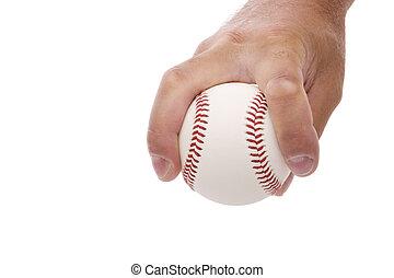 demonstrating the split finger fastball baseball pitching grip