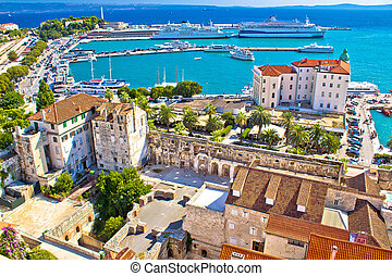 Split harbor and waterfront aerial view