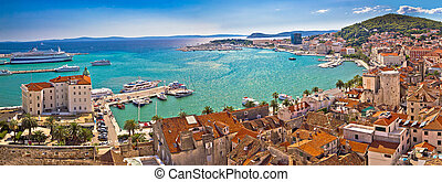 Split historic waterfront panoramic aerial view