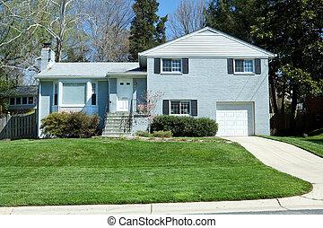 Blue Brick Single Family House Home Suburban Maryland