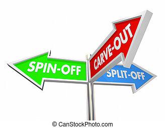 split-off, ilustração, sinais, divest, 3d, spin-off,...