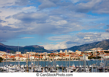 Split cityscape on the Adriatic Sea in Croatia, harbor in the foreground