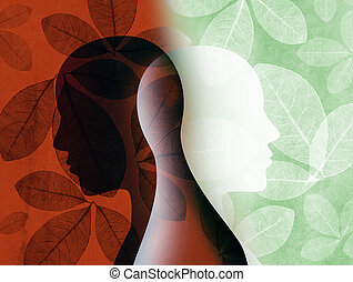 Split personality. Bipolar disorder mind mental. Mood...