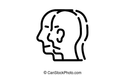 split personality animated black icon. split personality sign. isolated on white background