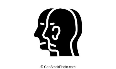 split personality animated glyph icon. split personality sign. isolated on white background