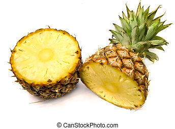 split pineapple fruit isolated on white background