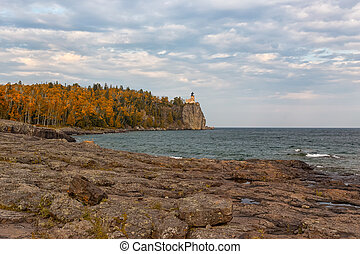 Split Rock Lighthouse on North Shore of Lake Superior in...
