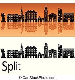 Split skyline in orange background in editable vector file