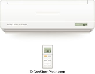 Split system air conditioner. Cool and cold climate control system. Realistic conditioning with remote controller. Vector illustration.