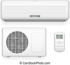 Split system air conditioner. Cool and cold climate control vector illustration