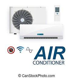 Split system air conditioner inverter. Realistic ...