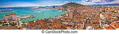 Split waterfront aerial panoramic view