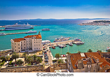 Split waterfront and harboar aerial view