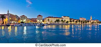 Split waterfront evening blue panorama