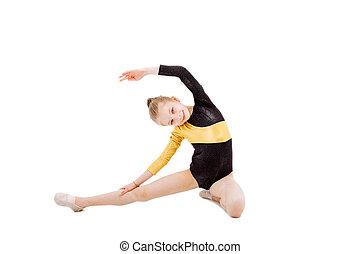 splits., mignon, peu, gens, action., girl, assied