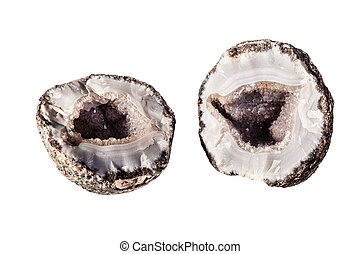 Splitted geode - an open amethyst geode isolated over a...