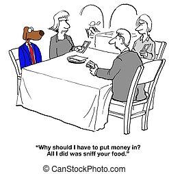 Splitting Restaurant Bill - Dog cartoon about restaurant...