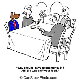 Splitting Restaurant Bill - Dog cartoon about restaurant...