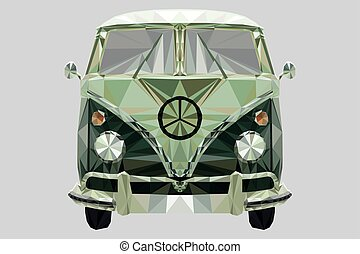 Splitty-low-poly-vector - Low-poly in triangles of a camper ...