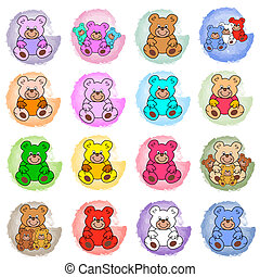 splotches with teddy bears - round pastell colored circles...