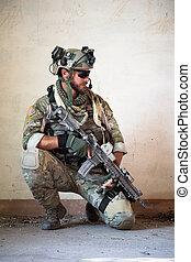 spoczynek, amerykanka, wojskowy, działanie, żołnierz