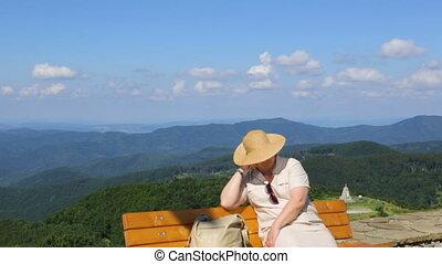 spoczynek, góra, kobieta, ława