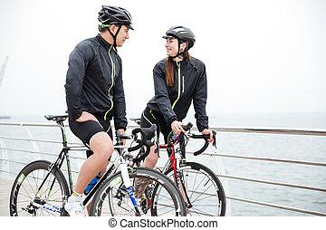 spoczynek, para, flirtując, rower
