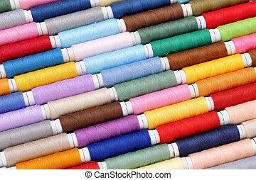 spoel, van, draden, en, naaiende naald