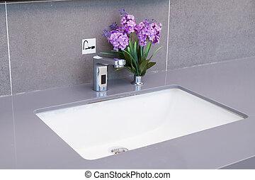 spoelbak, in, een, moderne, bathroom.