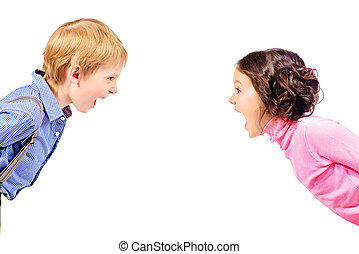 spoiled child - A boy and a girl looking at the camera and...