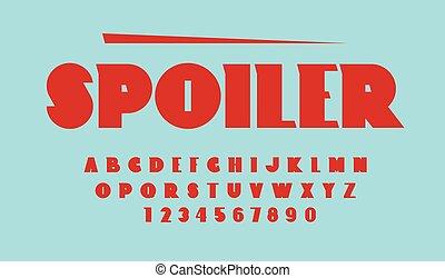 Spoiler font. Uppercase letter - Spoiler car sport vintage ...